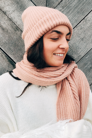 Cashmere Blended Ribbed Knit Hat