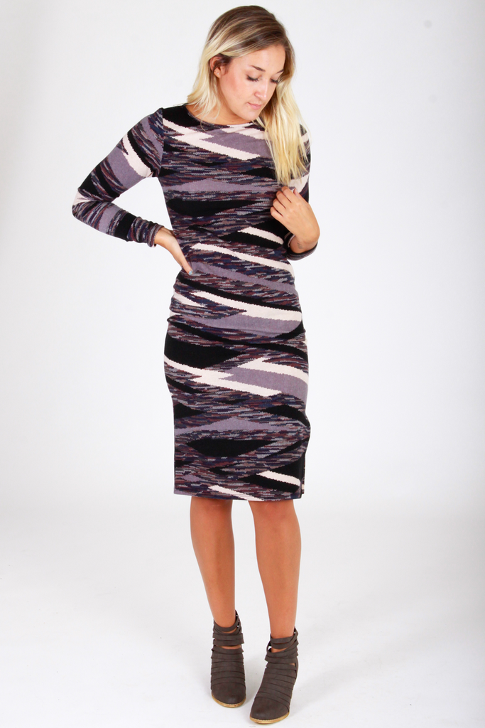 Long Sleeve Midi Sweater Dress - House of Lucky