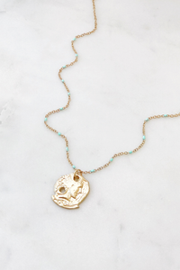 Turquoise Bead & Coin Necklace