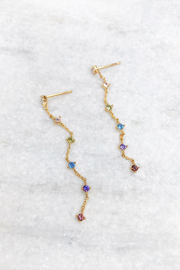 Colored CZ Chain Drop Earring