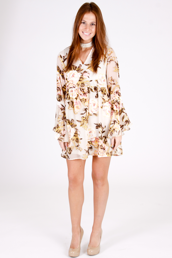 Sunny Floral Velvet Dress