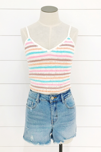 Crochet Rainbow Crop Top