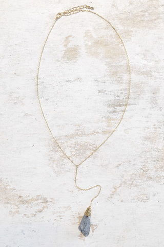 Simple Gypsum Crystal Drop Necklace - House of Lucky