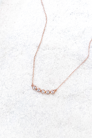 Five CZ Bar Necklace