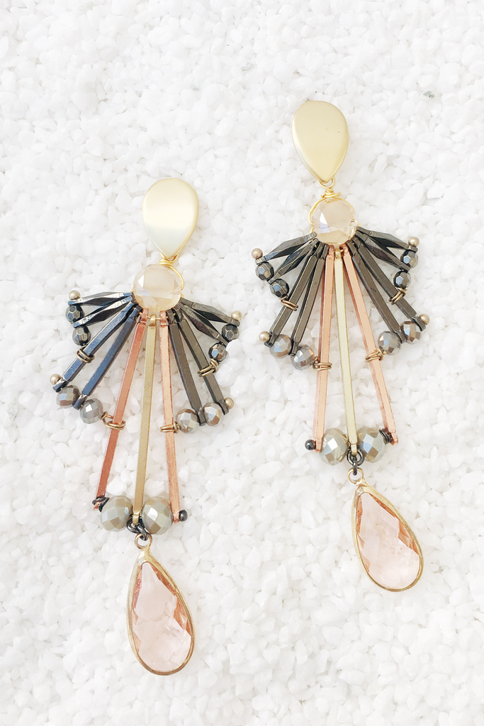 Deco Multi Tone Drop Earrings