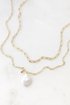 Double Link Chain Necklace with Freshwater Pearl