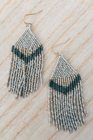 Peyote Bead Fringe Earrings