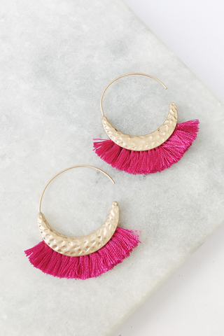 Fringe Half Hammered Circle Earrings