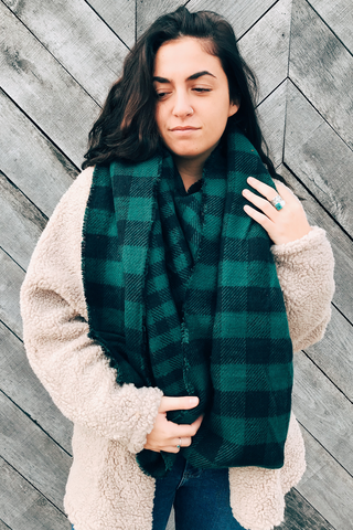 Reversible Gingham Infinity Scarf