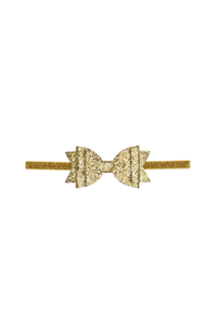 SH Gold Glitter Bow Soft Headband