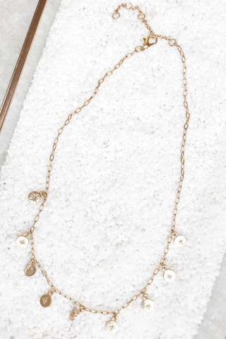 Gold Chain Necklace with Stars on Disc