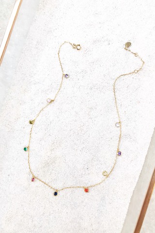Gold Vermeil Multi Stone Necklace