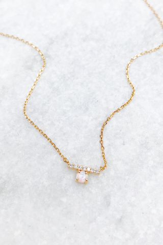 GV Mini CZ Bar & White Opal Necklace