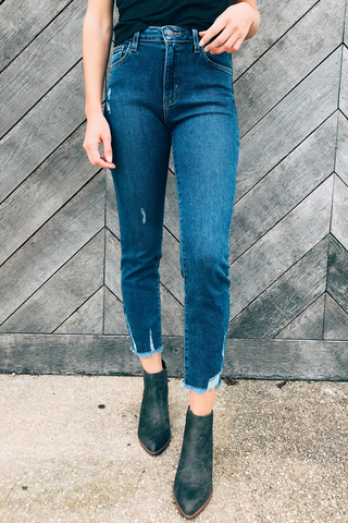 High Rise Hem Destruction Jeans