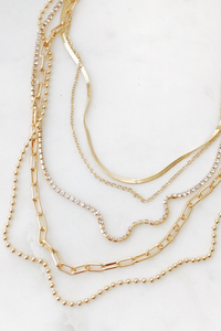 Herringbone & Crystal Layer Necklace