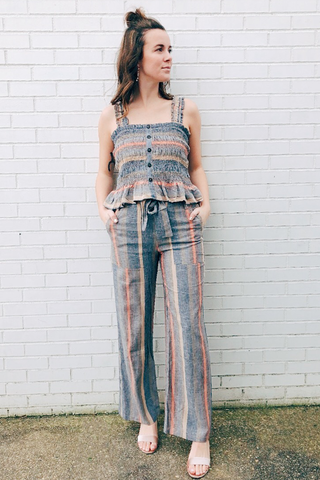 Isabel Tie Waist Striped Pants