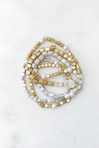 Metal and Pearl Mix Bracelet Set