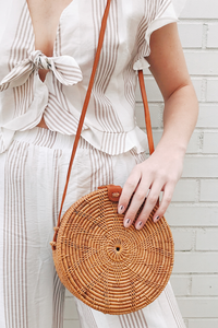 Medium Round Rattan Crossbody Bag