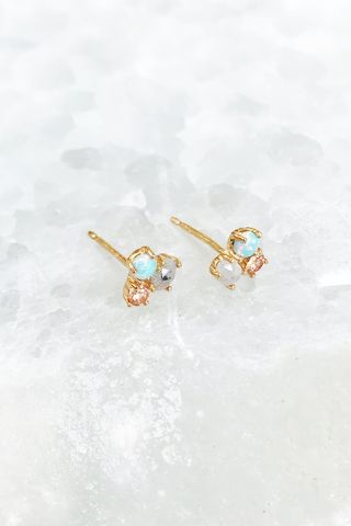Gold Vermeil Opal, Labradorite & Champagne CZ Cluster Earrings