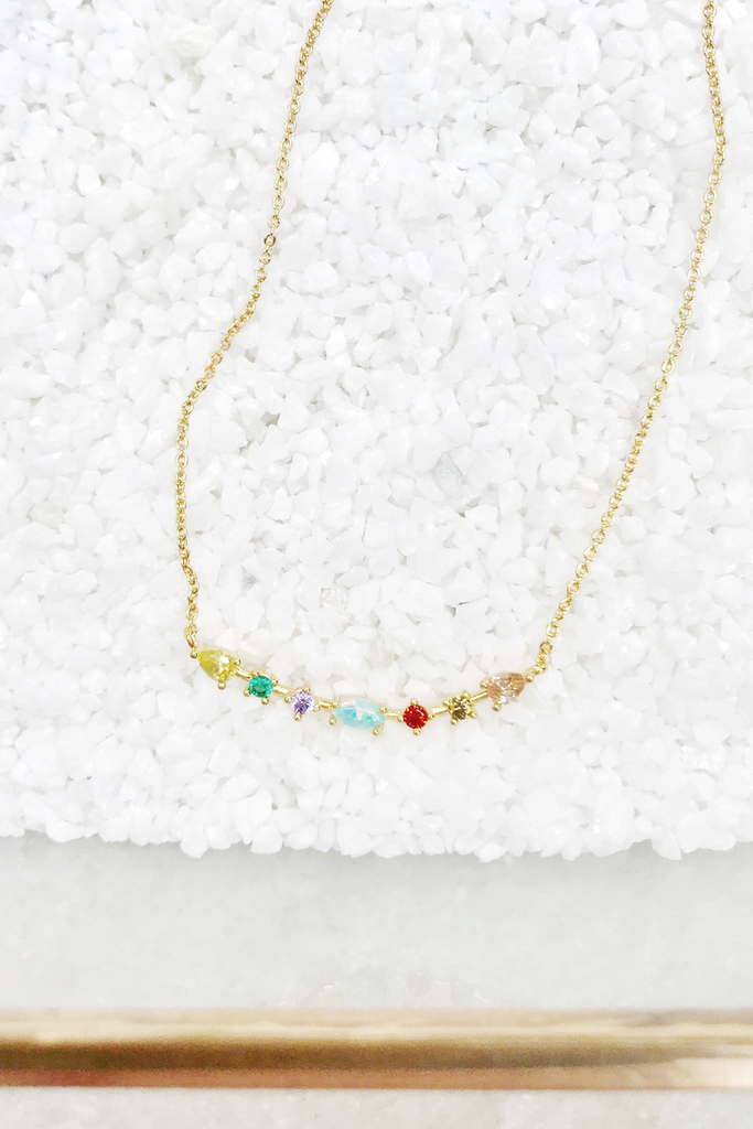 Opal & Colored Stone Bar Necklace