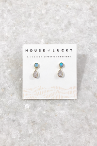 Opal Teardrop Dangle Studs