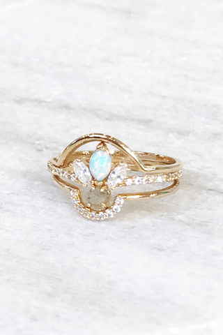 Triple Stack Ring with Opal and Labradorite