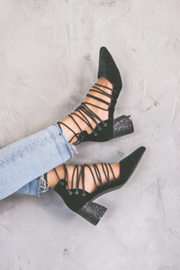 Palm Velvet Strappy Heel - House of Lucky