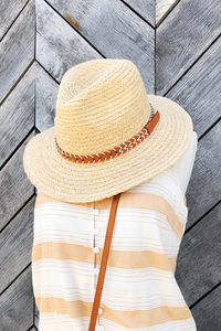 Tan Faux Leather Band Panama Hat
