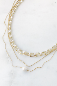 Paperclip Pearl Layered Necklace