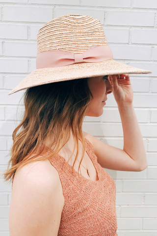 Wheat Straw Hat W/ Blush Grosgrain