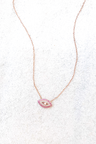 Pink CZ Evil Eye Necklace