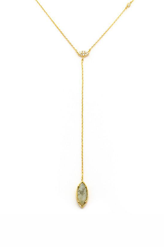 Simple Labradorite Drop Y Necklace
