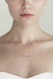 Gold Simple Layered Necklace with White Rock Crystals & CZ