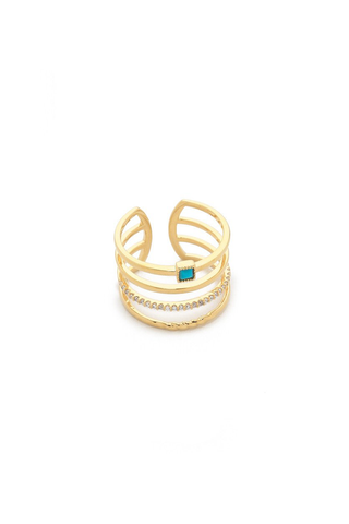 Adjustable Gold Stack Ring with Turquoise