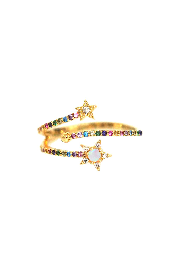 Rainbow Ring with Opal Stars