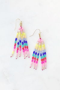 Rainbow Beaded Tassel Earrings