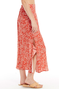 Red Heart Cheetah Midi Skirt