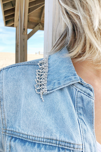 Rhinestone Laced Collar Denim Jacket