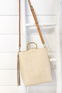 Straw Mini Tote W/ Ring Handle