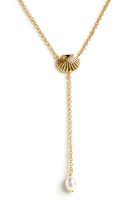 Seashell Charm Lariat Necklace