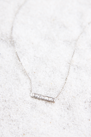 Silver Crystal Bezel Bar Necklace - House of Lucky