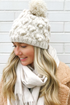 Little Snowball Cable Pom Pom Hat