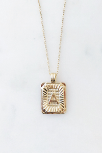 Squared Initial Coin Necklace
