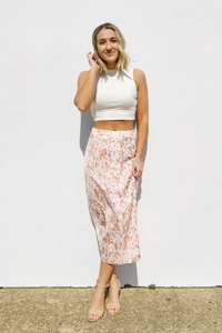 Sunrise Satin Leopard Midi Skirt
