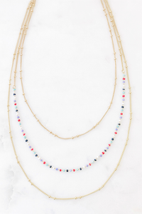 Teeny Blues Beads Layered Necklace