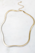 Thick Gold Herringbone Short Necklace
