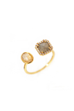 Adjustable Gold Ring with Labradorite