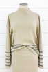 Striped Mock Neck Pullover Sweater