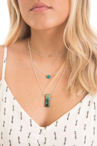 Turquoise Malachite 3 Layer Necklace - House of Lucky