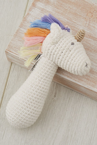 Rainbow Unicorn Stick Rattle - House of Lucky